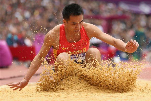 Bin Dong of China competes in the Men's Triple Jump Qualification on Day 11 of the London 2012 Olympic Games at Olympic Stadium on August 7, 2012 (Getty Images)
