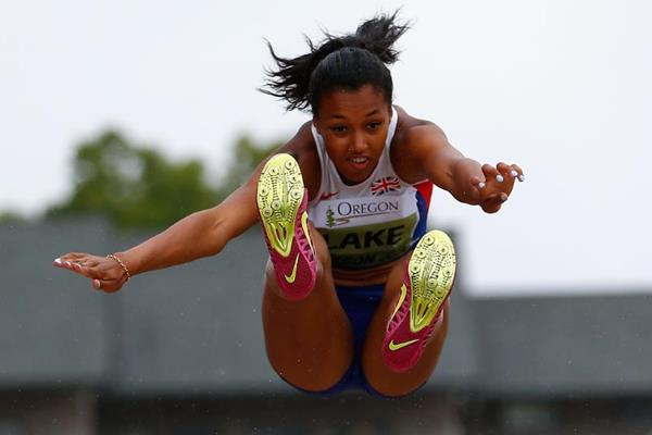 Morgan Lake in the heptathlon long jump at the 2014 IAAF World Junior Championships in Eugene (Getty Images)