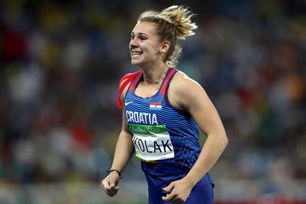 Sara Kolak after her Croatian javelin record at the Rio 2016 Olympic Games (Getty Images)