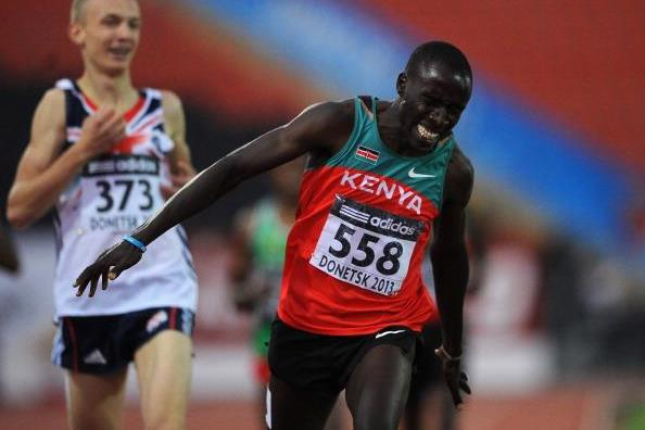 Alfred Kipketer; Kyle Langford in the boys 800m Final at the IAAF World Youth Championships 2013 (Getty Images)