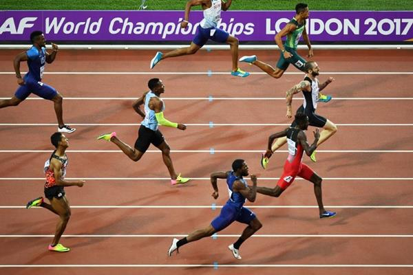Close! The waning stages of the men's 200m at the IAAF World Championships London 2017 (Getty Images)