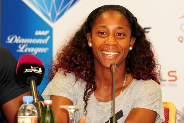 Shelly-Ann Fraser-Pryce at the Doha Diamond League press conference (Errol Anderson)