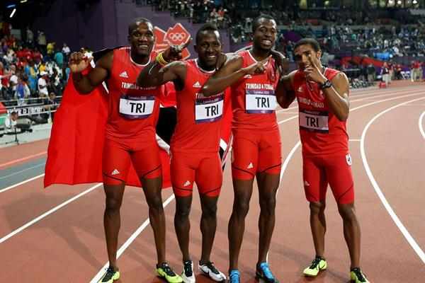 Lalonde Gordon of Trinidad and Tobago, Jarrin Solomon of Trinidad and Tobago, Ade Alleyne-Forte of Trinidad and Tobago and Deon Lendore of Trinidad and Tobago celebrate winning bronze in the Men's 4 x 400m Relay Final of the London Olympic Games on 10 August 2012 (Getty Images)
