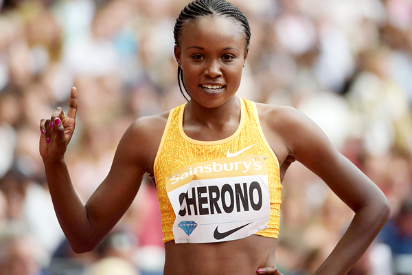 Mercy Cherono at the 2015 IAAF Diamond League meeting in London (Kirby Lee)