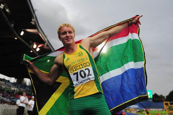 Andries Van Der Merwe celebrates winning the Boys' World Youth 110m Hurdles title (Getty Images)