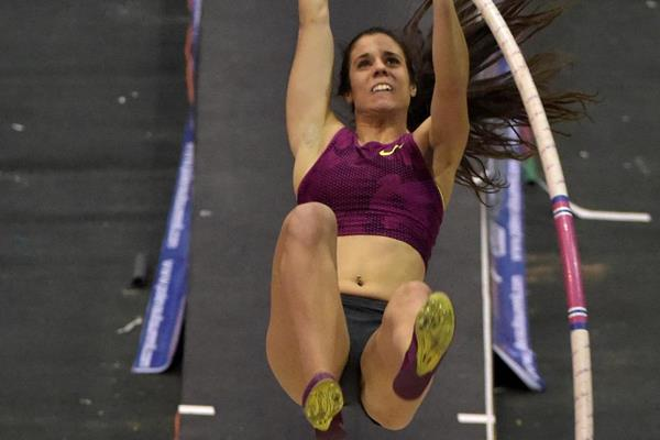 Ekaterini Stefanidi, winner of the women's pole vault (Kirby Lee)