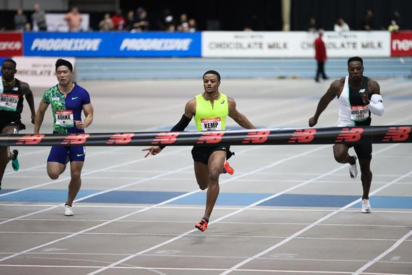 Demek Kemp wins the 60m at the World Athletics Indoor Tour meeting in Boston (Victah Sailer)