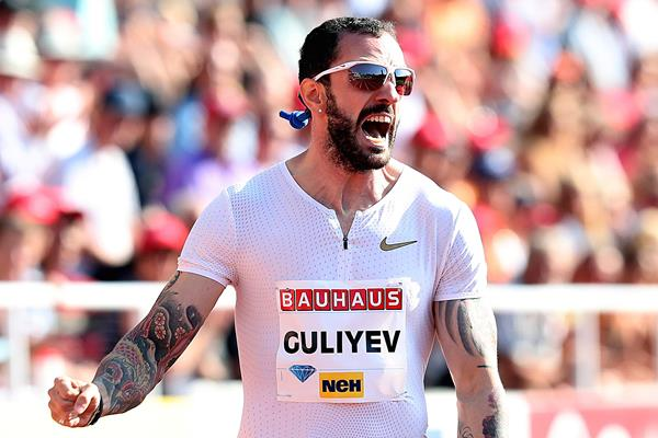 Ramil Guliyev after his 200m in Stockholm (Giancarlo Colombo)