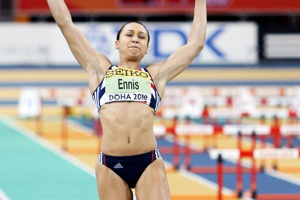 Jessica Ennis of GBR during the Pentathlon Long Jump (Getty Images)