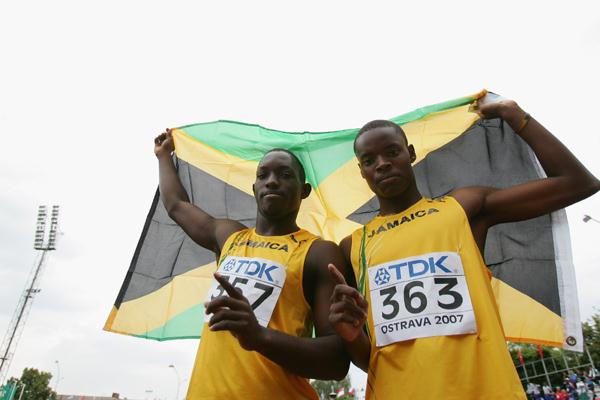 Dexter Lee and Nickel Ashmeade of Jamaica celebrate gold and silver after the 100m final (Getty Images)
