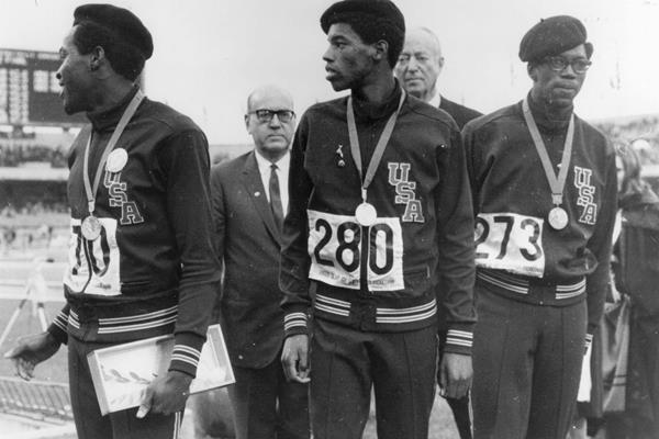 1968 Olympic 400m medallists, from left: Lee Evans (gold), Larry James (silver), and Ron Freeman (bronze) (Getty Images)
