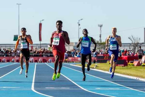 Abdelaziz Mohamed of Qatar winning the Youth Olympic Games 200m title (Ivo Gonzalez for OIS/IOC)