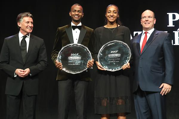From Left - IAAF President Sebastian Coe, world athletes of the year Mutaz Barshim and Nafi Thiam, and Prince Albert of Monaco (Giancarlo Colombo)