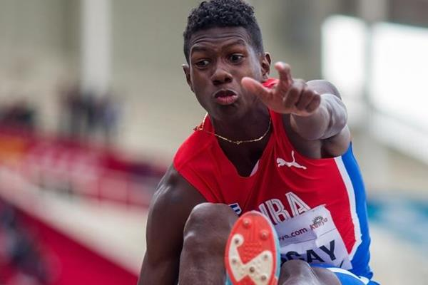 Lester Lescay in the long jump at the IAAF World U18 Championships (Getty Images)