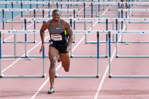 David Oliver in the 110m hurdles at the Diamond League meeting in New York (Victah Sailer)