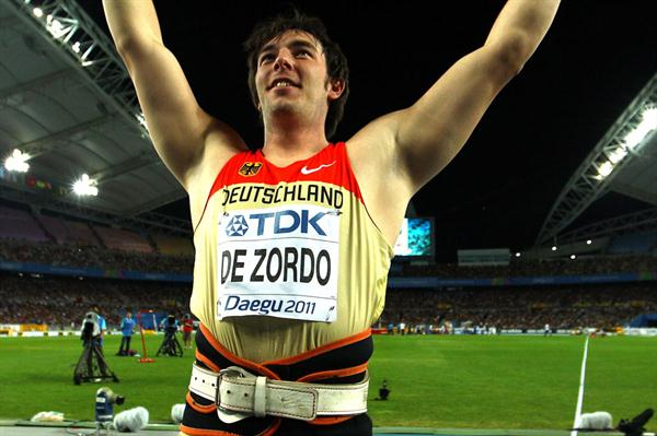 Matthias de Zordo of Germany celebrates victory in the men's javelin throw final  (Getty Images)