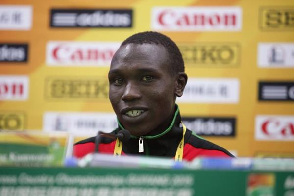 Geoffrey Kipsang Kamworor at the press conference for the IAAF World Cross Country Chamionships, Guiyang 2015 (Getty Images)