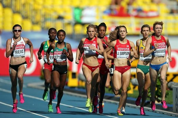 Action shot Jenny Simpson in the womens 1500m at the IAAF World Athletics Championships Moscow 2013 (Getty Images)