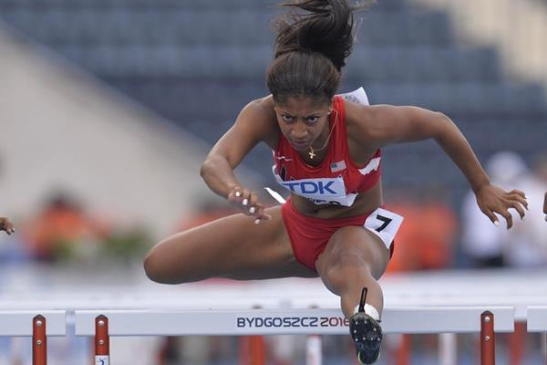 Tia Jones in the 100m hurdles at the IAAF World U20 Championships Bydgoszcz 2016 (Getty Images)
