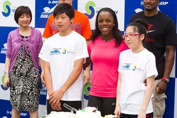 Veronica Campbell-Brown with her birthday cake in Shanghai (Errol Anderson)