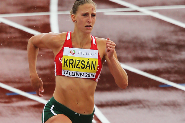 Xenia Krizsan in the heptathlon 200m at the European Under-23 Championships in Tallinn (Getty Images)