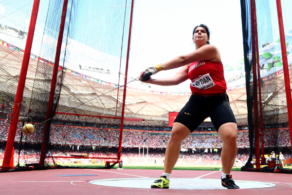 Azerbaijan's Hanna Skydan in the hammer at the IAAF World Championships (Getty Images)