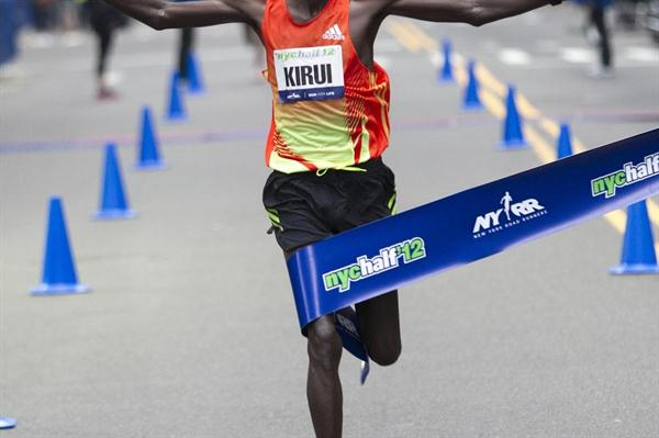 Peter Kirui winning the New York City Half Marathon (Courtesy of NYRR)