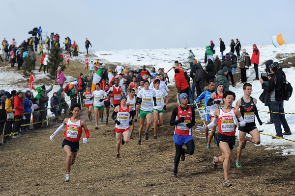 Action from the junior men's race at the IAAF World Cross Country Championships (Getty Images)