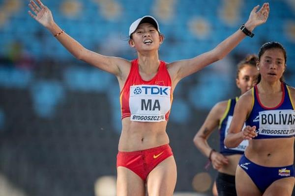 Ma Zhenxia wins the 10,000m race walk at the IAAF World U20 Championships Bydgoszcz 2016 (Getty Images)