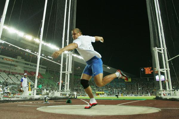 Gerd Kanter of Estonia in action during the Men's Discus Throw Final (Getty Images)