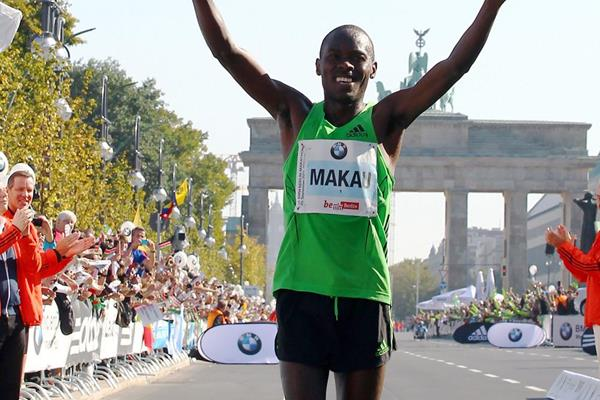 Patrick Makau after breaking the world record at the 2011 Berlin Marathon (Getty Images)