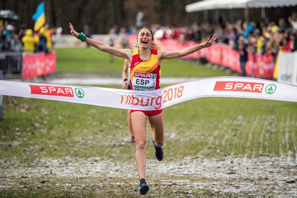 Solange Pereira anchors Spain to victory in the mixed relay at the European Cross Country Championships (Getty Images)