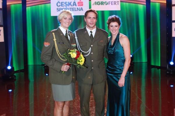 Barbora Špotáková, Vítězslav Veselý and Zuzana Hejnová at the 2012 Czech Athletics Gala (Tomáš Železný/atletika.cz)