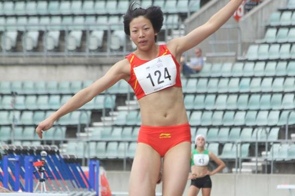 Triple jumper Wang Rong in action at the 2013 Australian Youth Olympic Festival  (David Tarbotton)