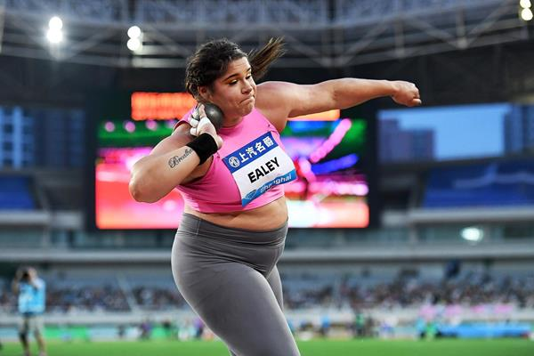 Shot put winner Chase Ealey at the IAAF Diamond League meeting in Shanghai (Errol Anderson)