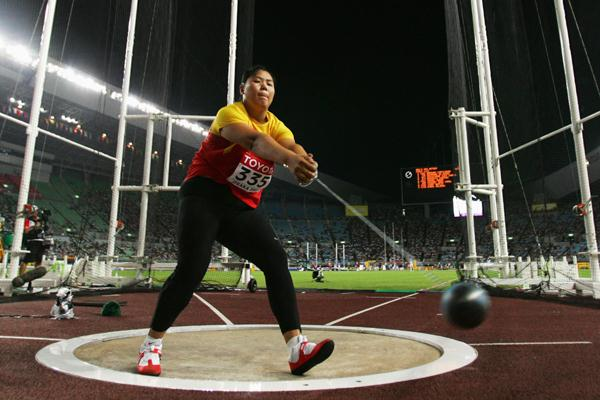 Wenxiu Zhang of China competes to a bronze medal in the Women's hammer Throw Final (Getty Images)