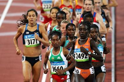 Lornah Kiplagat led the women's 10,000m in the early stages before Tirunesh Dibaba went on to win (Getty Images)