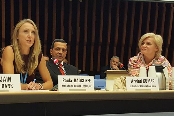 Paula Radcliffe addressing the First World Health Organisation Global Conference on Air Pollution and Health (WHO)