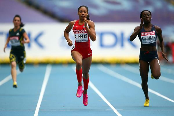 Allyson Felix in the womens 200m at the IAAF World Championships Moscow 2013 (Getty Images)