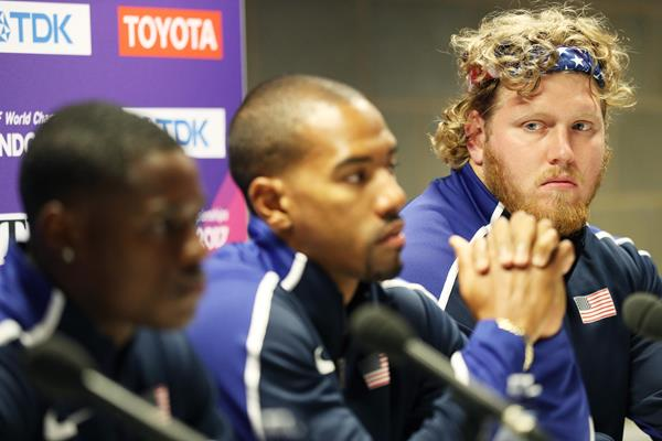 Ryan Crouser (r) at a pre-championships press conference in London (Getty Images)