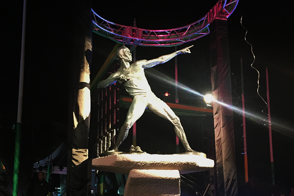 Usain Bolt statue outside the National Stadium in Kingston, Jamaica ()