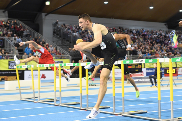 Andy Pozzi in the 60m hurdles at the IAAF World Indoor Tour meeting in Karlsruhe (Jiro Mochizuki)