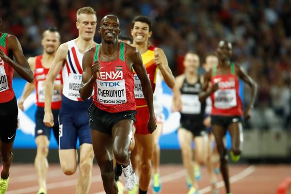 Elijah Manangoi, Filip Ingebrigtsen and Timothy Cheruiyot battle to the line in the men's 1500m final at the IAAF World Championships London 2017 (Getty)