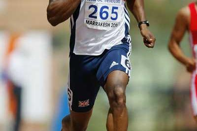 Harry Aikines-Aryeetey of GBR in action in the Boys' 200m heats at the World Youth Championships (Getty Images)