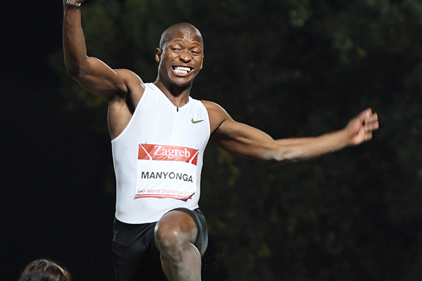 Luvo Manyonga in the long jump at the IAAF World Challenge meeting in Zagreb (Organisers)