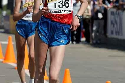 Olga Kaniskina on her way to the World Race Walking Cup 20km title in Cheboksary (IAAF.org)