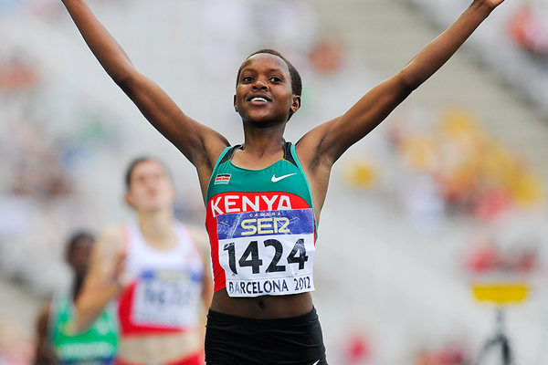 Faith Kipyegon wins the 1500m at the IAAF World Junior Championships Barcelona 2012 (Getty Images)