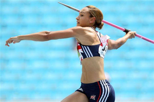 Jessica Ennis of Great Britain competes in the javelin throw in the women's heptathlon  (Getty Images)
