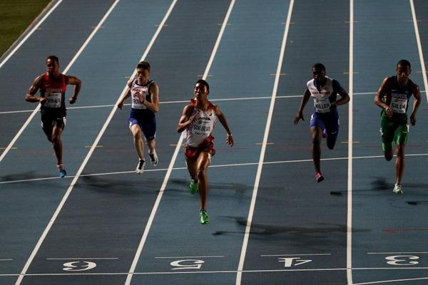 Abdul Hakim Sani Brown wins the boys' 100m at the IAAF World Youth Championships, Cali 2015 (Getty Images)