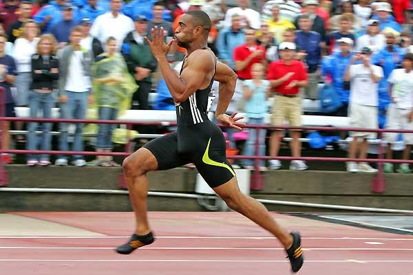 Tyson Gay in full flight in the 200m final in Indianapolis - US Champs (Getty Images)